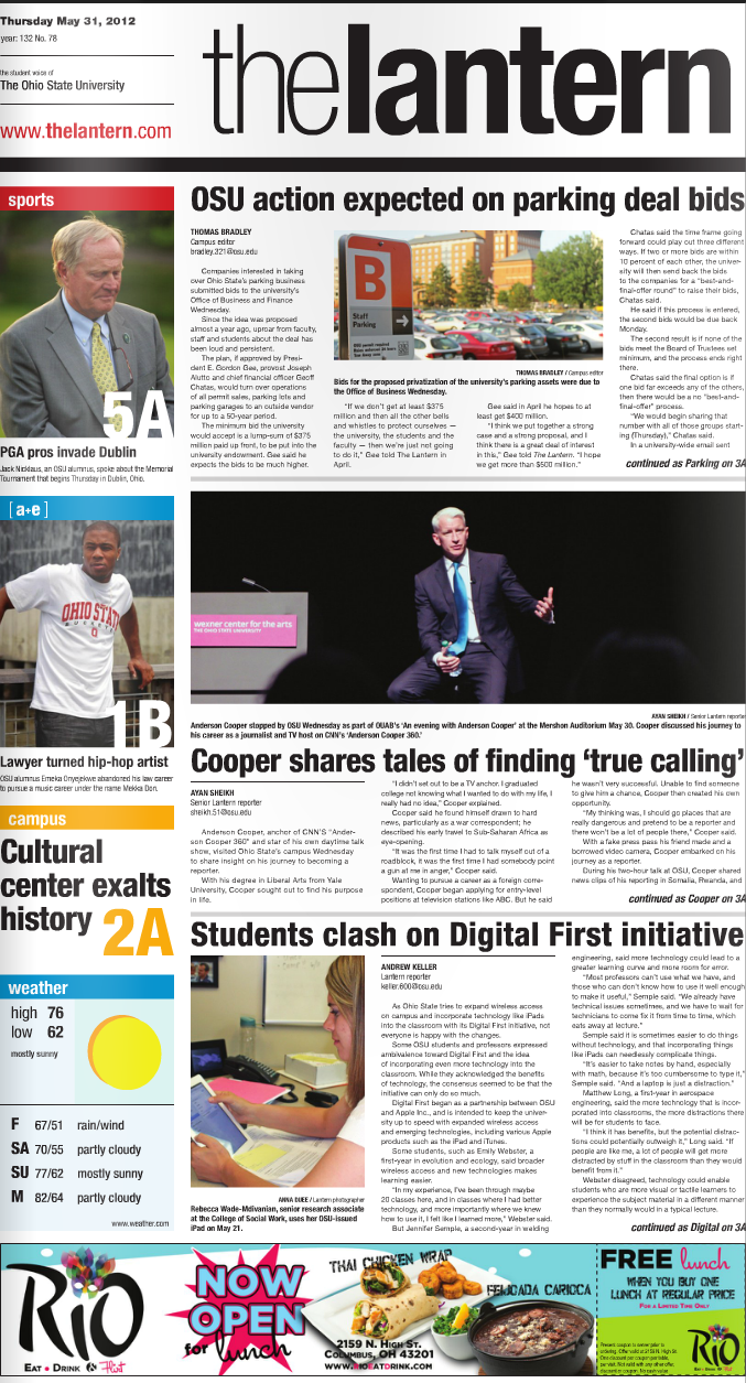 Ohio State student newspaper The Lantern contracts with Gannett