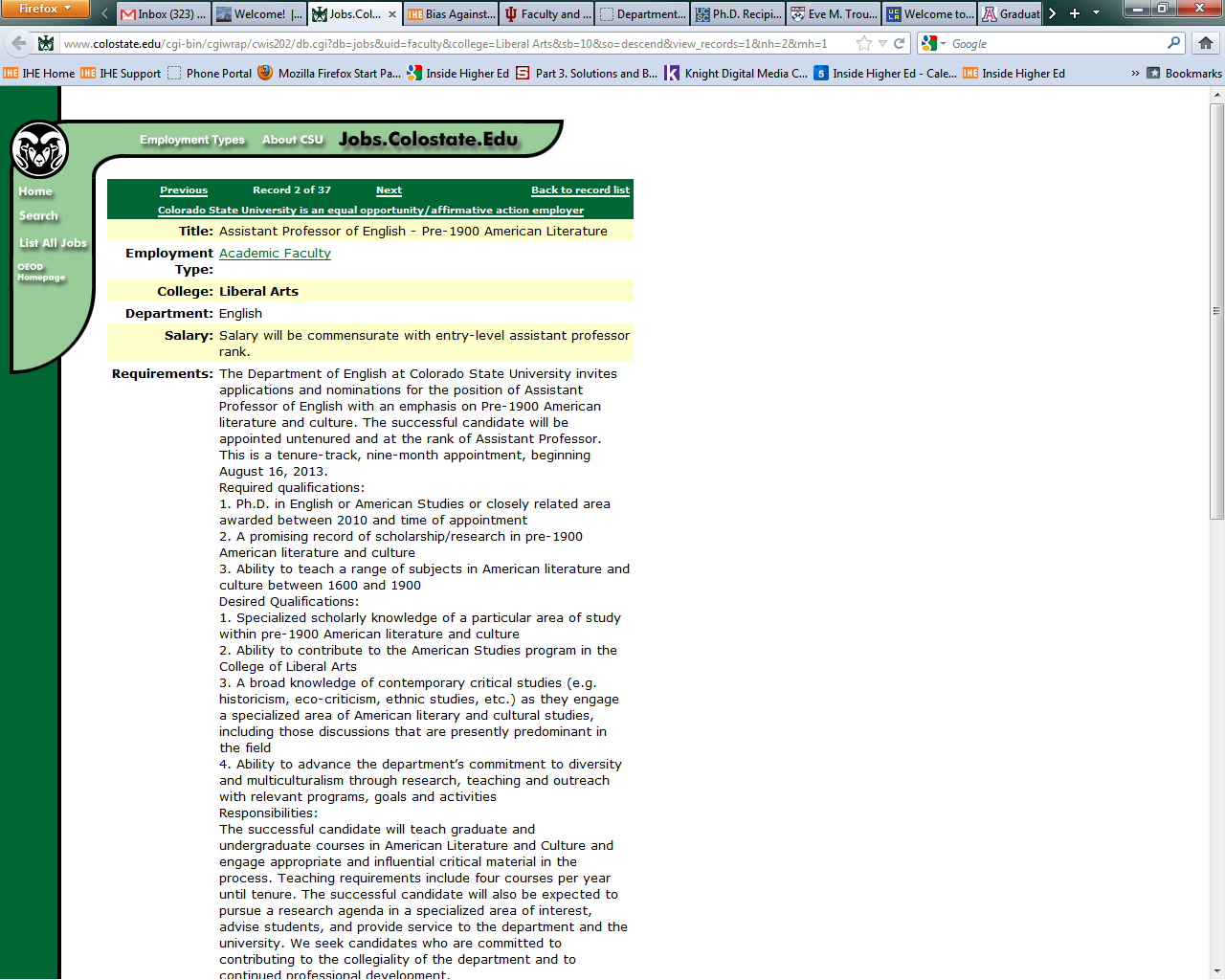 colorado state criticized for job posting favoring recent ph d s a job posting