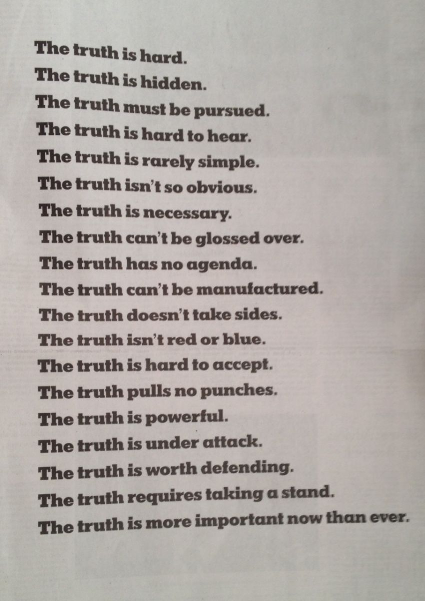 New York Times advertisement about truth