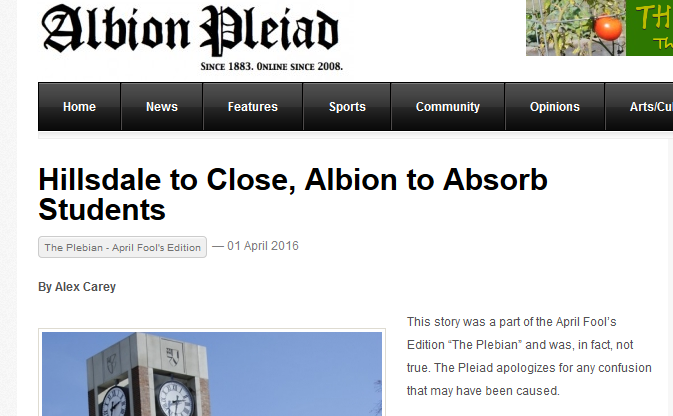 "Front page of Albion Pleiad joke issue, with headline ""Hillsdale to Close, Albion to Absorb Students."""
