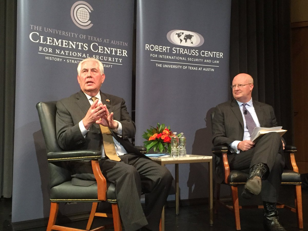 Rex Tillerson speaking at the University of Texas