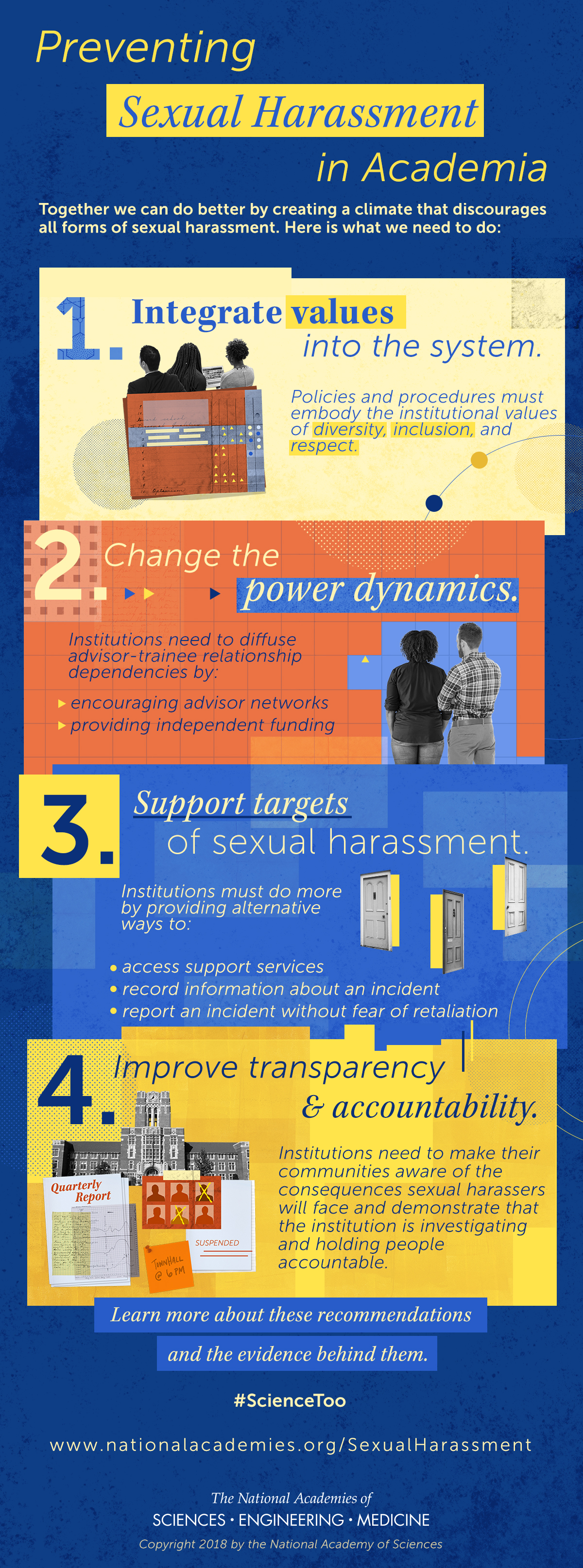 Preventing Sexual Harassment in Academia: Together we can do better by creating a climate that discourages all forms of sexual harassment. Here is what we need to do: 1. Integrate values into the system. Policies and procedures must embody the institutional values of diversity, inclusion and respect. 2. Change the power dynamics. Institutions need to diffuse adviser-trainee relationship dependencies by encouraging adviser networks and providing independent funding. 3. Support targets of sexual harassment. Institutions must do more by providing alternative ways to access support services, record information about an incident, and report an incident without fear of retaliation. 4. Improve transparency and accountability. Institutions need to make their communities aware of the consequences sexual harassers will face and demonstrate that the institution is investigating and holding people accountable. Learn more about these recommendations and the evidence behind them. #ScienceToo""