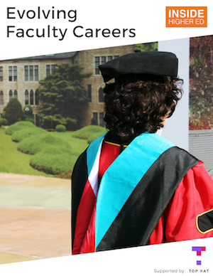 "Cover image of Inside Higher Ed's ""Evolving Faculty Careers"" shows a dark-haired person in academic regalia, facing away from the camera."
