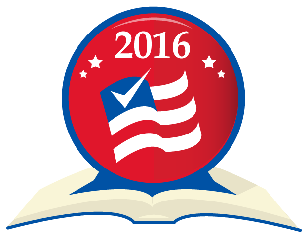 2016 election-themed illustration of clock with an American flag inside sitting on a book.
