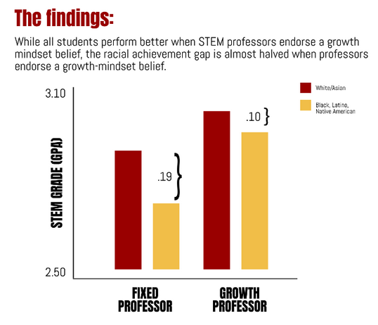Study links faculty attitudes on intelligence to student success in STEM, with large impact on minority student success