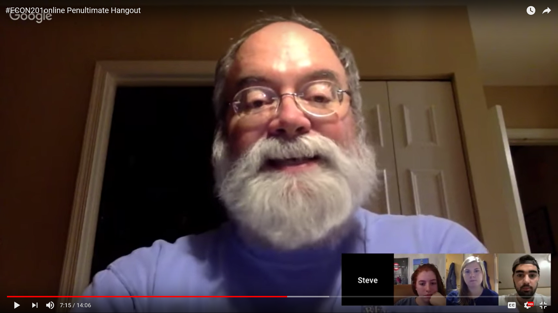 Steve Greenlaw, economics professor at the University of Mary Washington, meets with students on Skype and Google Hangout to advise them on group projects