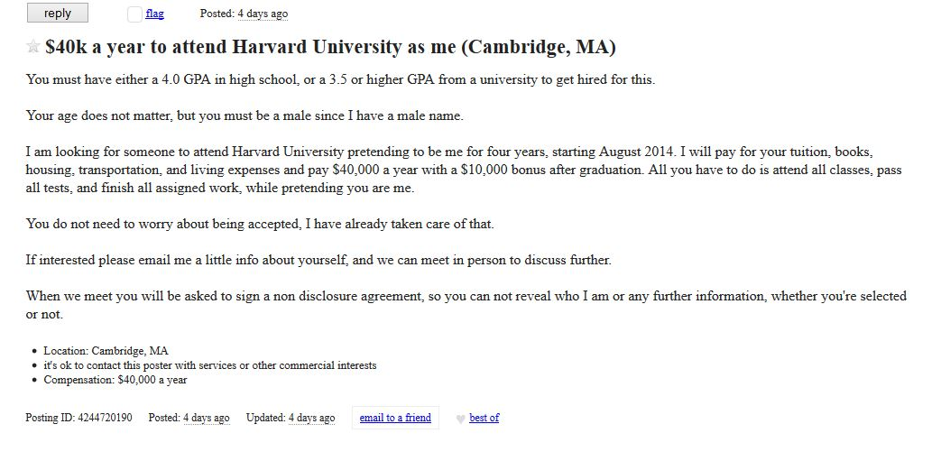 What Is It With Harvard Pre-Frosh and Craigslist?