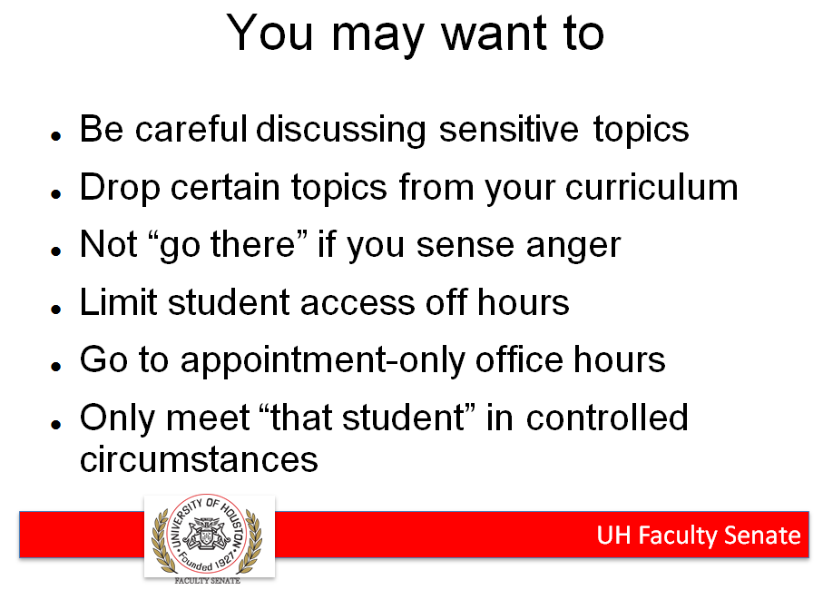 u of houston faculty senate suggests changes to teaching under campus carry