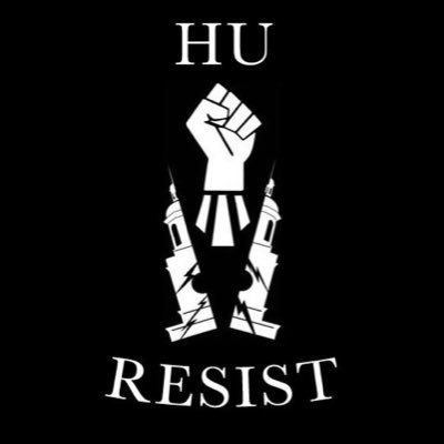 "Poster emblazoned with ""HU Resist"" and image of a fist breaking through a tower."
