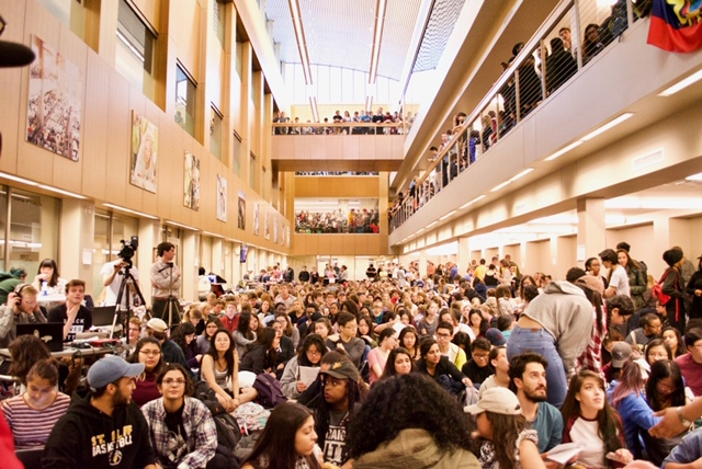In 2017, St. Olaf students gathered in the administration building to protest institutional racism.