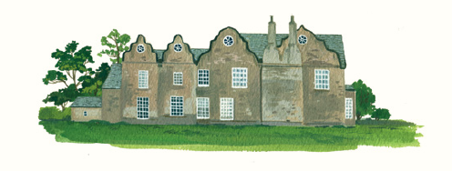 An illustration of the exterior of Jane and Edward's Thornfield Hall