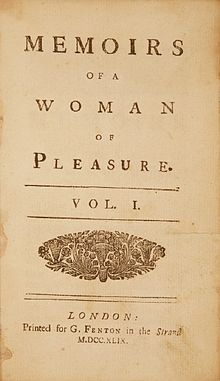 "Cover of ""Memoirs of a Woman of Pleasure,"" Vol. 1, London, Printed for G. Fenton in the Strand."