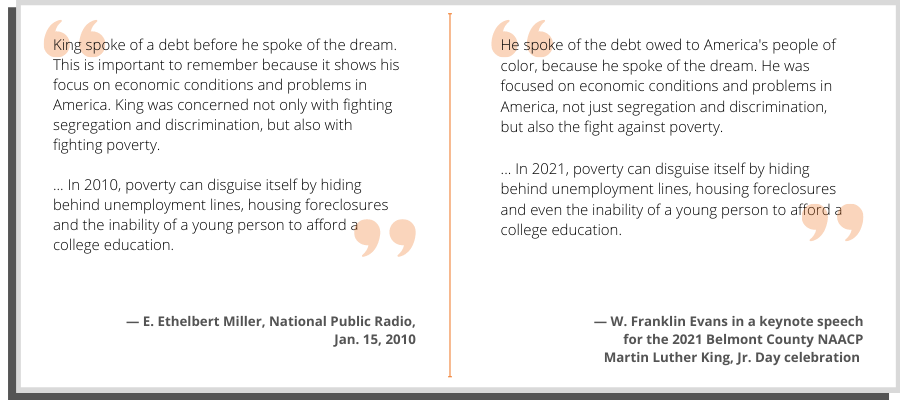 A side-by-side comparison of Evans' words and the text of a National Public Radio article.