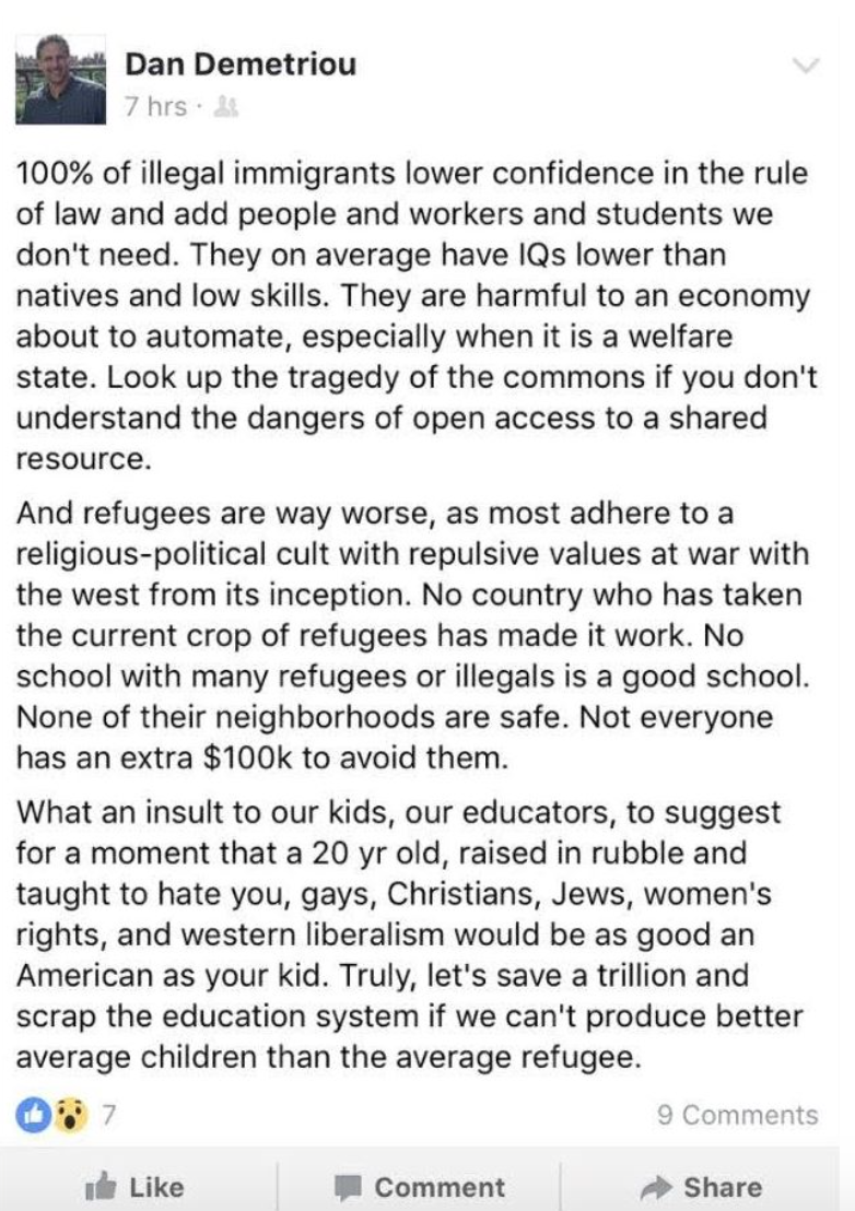 professor leftist driven refugee immigration policies those facebook comments stated in part 100% of illegal immigrants lower confidence in the rule of law and add people and workers and students we don t