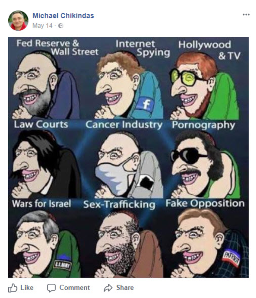 "Cartoon includes stereotypical portrayals of Jewish men, labeled ""Fed Reserve & Wall Street, Internet spying, Hollywood & TV, Law Courts, Cancer Industry, Pornography, Wars for Israel, Sex Trafficking, Fake Opposition."""