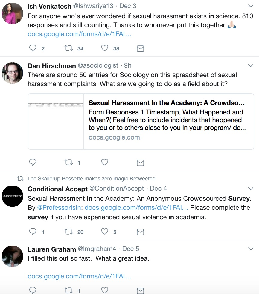 "Tweets related to Kelsky's survey. From Ish Venkatesh (@Ishwariya13): ""For anyone who's ever wondered if sexual harassment exists in science. 810 responses and still counting. Thanks to whomever put this together."" From Dan Hirschman (@asociologist): ""There are around 50 entries for sociology on this spreadsheet of sexual harassment complaints. What are we going to do as a field about it?"" From Conditionally Accepted (@conditionaccept): ""Sexual Harassment in the Academy: An Anonymous Crowdsourced Survey. By @ProfessorIsIn. Please complete the survey if you have experienced sexual violence in academia."" From Lauren Graham (@lmgraham4): ""I filled this out so fast. What a great idea."""