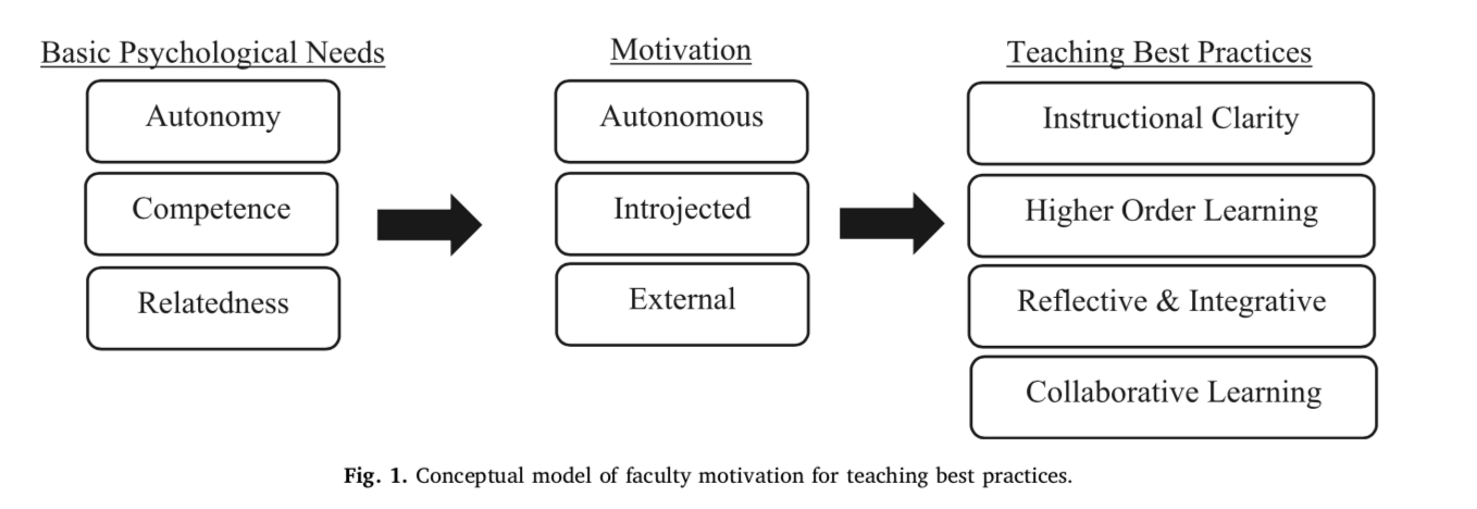 Study of faculty motivation for teaching says intrinsic motivation and believing that teaching is important are linked to best teaching practices