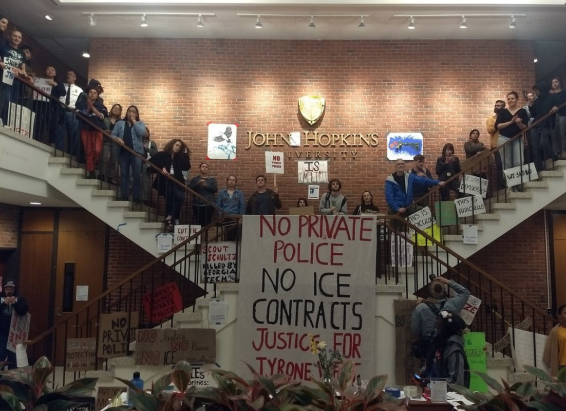 Johns Hopkins students escalate sit-in over proposed campus police force