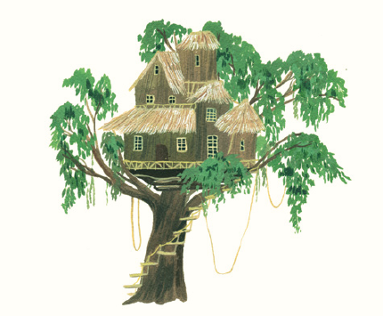 "An illustration of the ""Swiss Family Robinson"" treehouse"