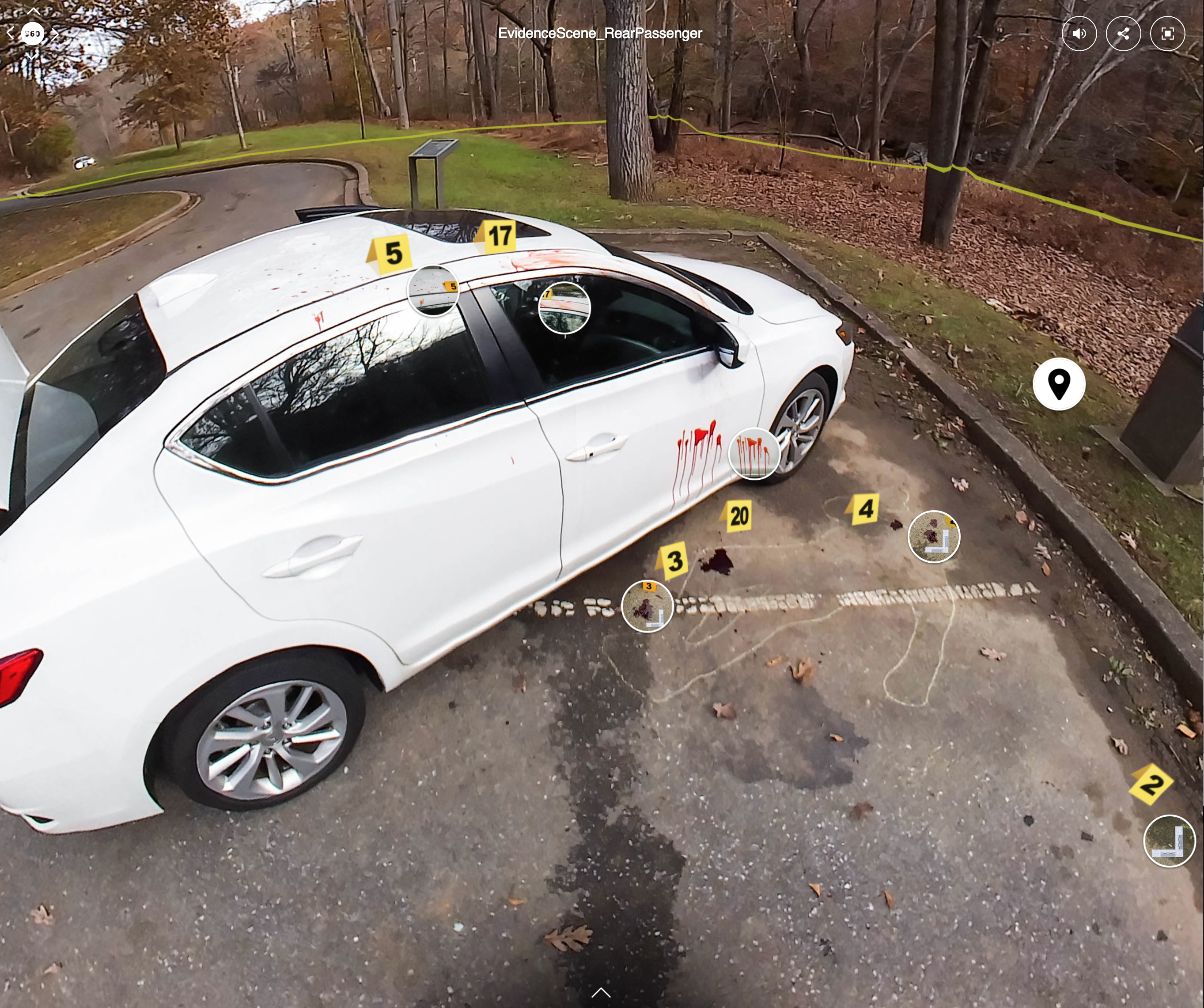 This screenshot shows a screen from the virtual reality simulation. A white car takes up most of the frame, with yellow evidence markers indicating areas where students should zoom in for further inspection.