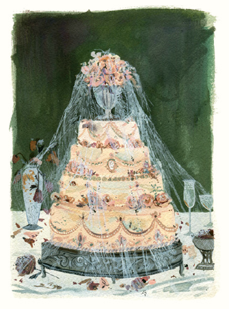 "An illustration of Miss Havisham's molding wedding cake from ""Great Expectations"" by Charles Dickens"