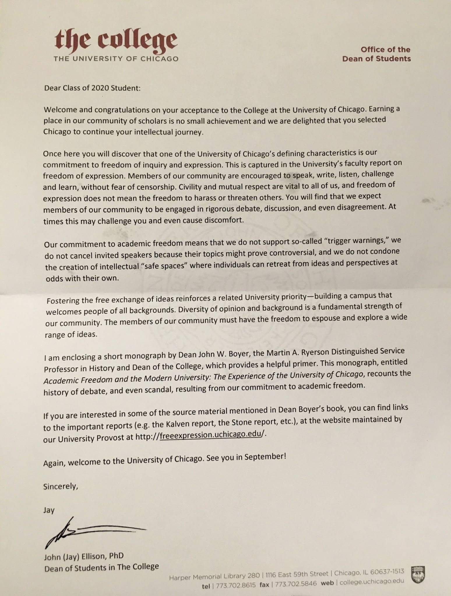 here is the chicago letter