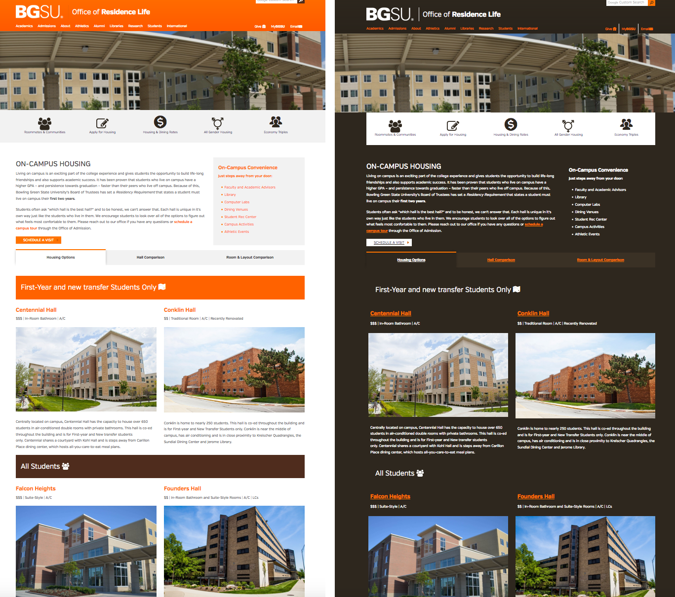 Bowling Green State University webpages, in normal and high-contrast versions.