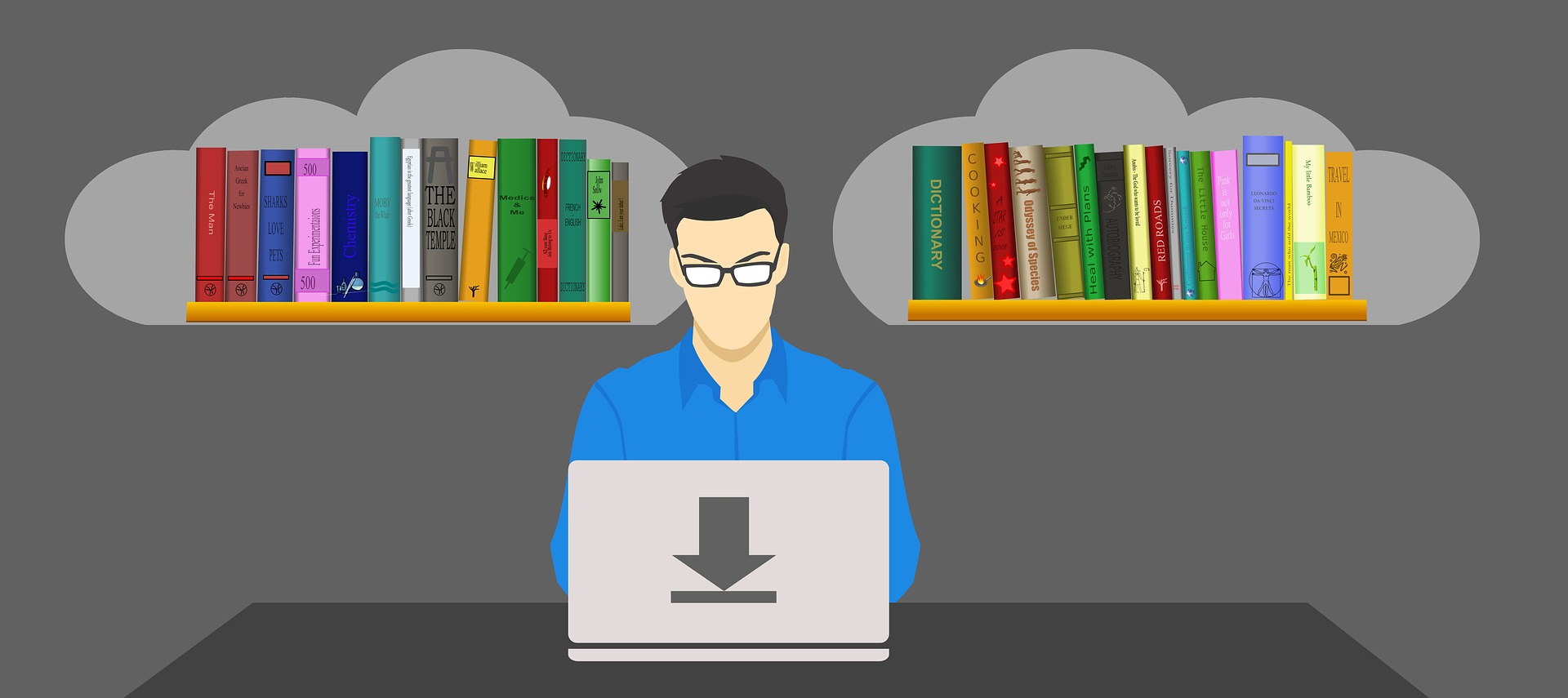 Stock illustration of a person at a computer, with images of books in thought bubbles.