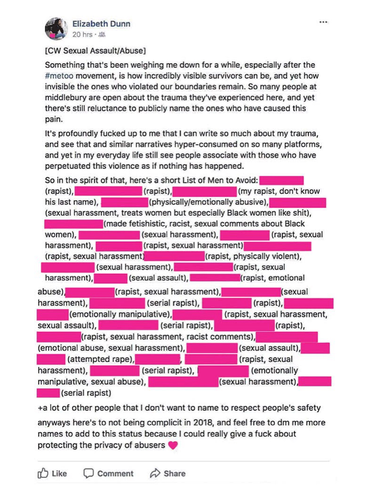 "Screen shot of a Facebook post by Elizabeth Dunn: ""[Content warning sexual assault/abuse] Something that's been weighing me down for a while, especially after the #metoo movement, is how incredibly visible survivors can be, and yet how invisible the ones who violated our boundaries remain. So many people at Middlebury are open about the trauma they've experienced here, and yet there's still reluctance to publicly name the ones who have caused this pain. It's profoundly fucked up to me that I can write so much about my trauma, and see that and similar narratives hyper-consumed on so many platforms, and yet in my everyday life still see people associate with those who have perpetuated this violence as if nothing has happened. So in the spirit of that, here's a short list of men to avoid: [name blacked out] (rapist), [name blacked out] (rapist), [name blacked out] (my rapist, don't know his last name), [name blacked out] (physically/emotionally abusive), [name blacked out] (sexual harassment, treats women but especially black women like shit), [name blacked out] (made fetishistic, racist, sexual comments about black women), [name blacked out] (sexual harassment), [name blacked out] (rapist, sexual harassment), [name blacked out] (rapist, sexual harassment), [name blacked out] (rapist, sexual harassment), [name blacked out] (rapist, physically violent), [name blacked out] (sexual harassment), [name blacked out] (rapist, sexual harassment), [name blacked out] (sexual assault), [name blacked out] (rapist, emotional abuse), [name blacked out] (rapist, sexual harassment), [name blacked out] (sexual harassment), [name blacked out] (serial rapist), [name blacked out] (rapist), [name blacked out] (emotionally manipulative), [name blacked out] (rapist, sexual harassment, sexual assault), [name blacked out] (serial rapist), [name blacked out] (rapist), [name blacked out] (rapist, sexual harassment, sexist comments), [name blacked out] (emotional abuse, sexual harassment), [name blacked out] (sexual assault), [name blacked out] (attempted rape), [name blacked out] (rapist, sexual harassment), [name blacked out] (serial rapist), [name blacked out] (emotionally manipulative, sexual abuse), [name blacked out] (sexual harassment), [name blacked out] (serial rapist) and a lot of other people that I don't want to name to respect people's safety. Anyways here's to not being complicit in 2018, and feel free to DM me more names to add to this status because I could really give a fuck about protecting the privacy of abusers."