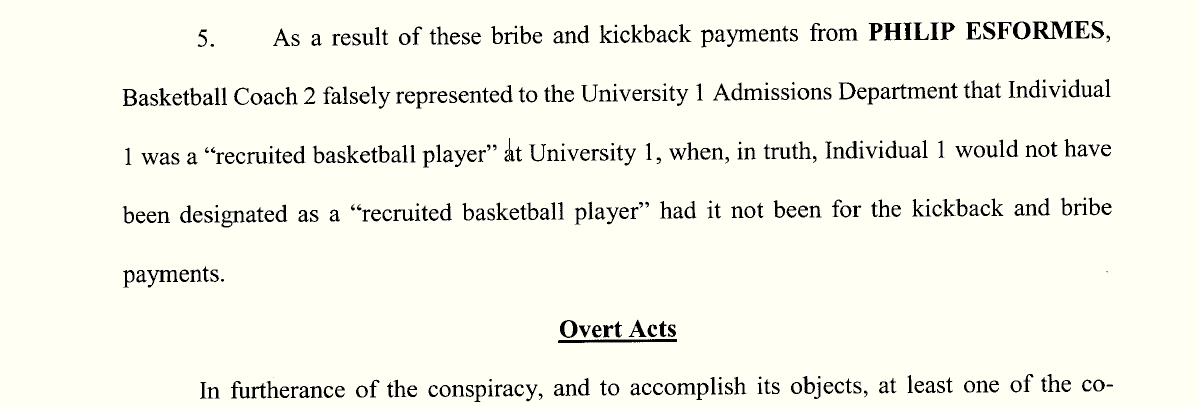 Indictment charges that a coach was bribed to get an applicant into Penn