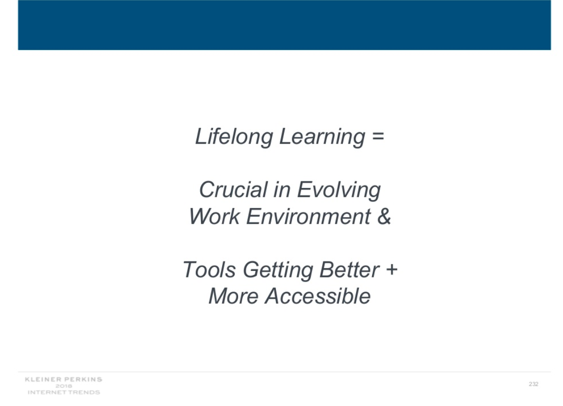 "Slide text says ""Lifelong learning equals crucial in evolving work environment and tools getting better plus more accessible."""