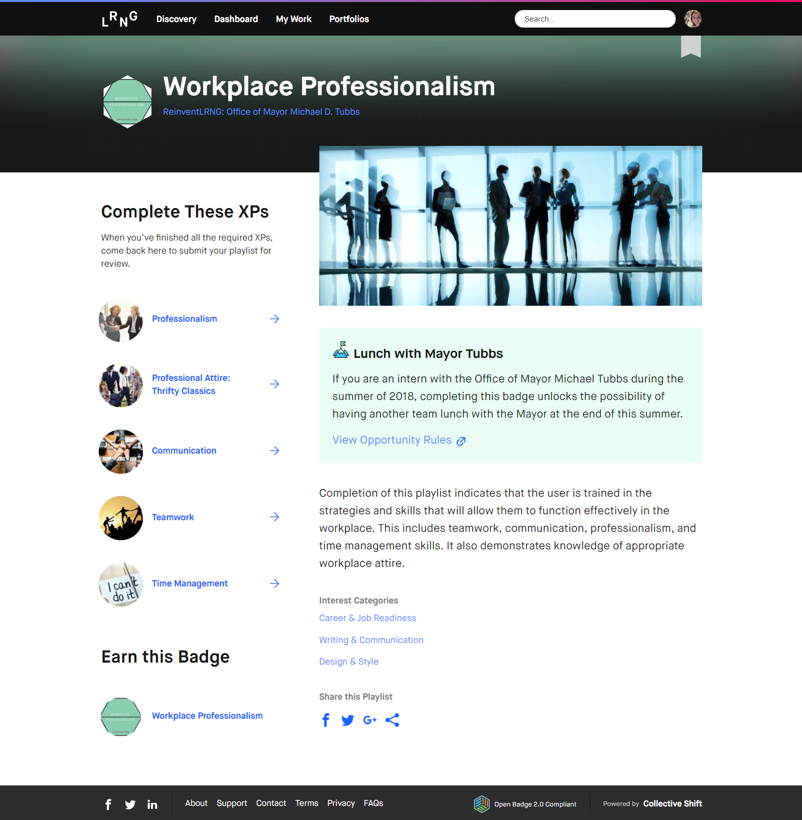 "A screenshot of the ""workplace professionalism"" credential available through the LRNG platform."
