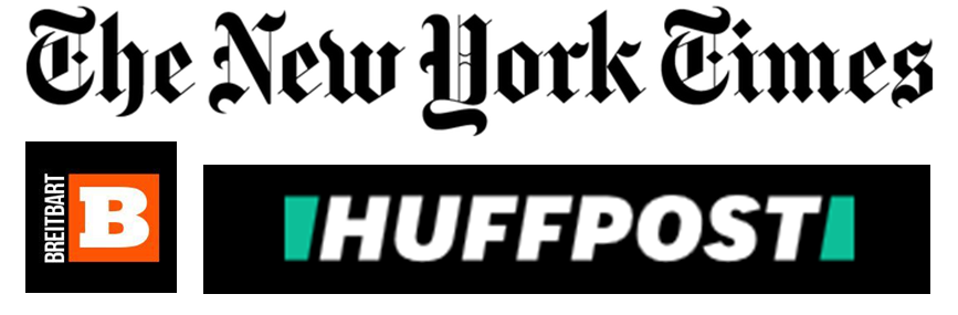 Logos of The New York Times, Breitbart and The Huffington Post