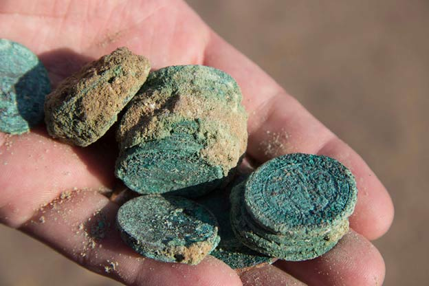 Corroded coins excavated during the 'Origins of Doha and Qatar' project (Joint QM - UCL Qatar Old Doha Rescue Excavation Archive).