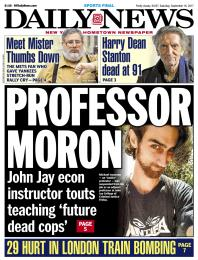 """Sept. 16, 2017, cover of the New York Daily News, showing main headline """"Professor Moron: John Jay econ instructor touts teaching 'future dead cops.'"""" Photo of Michael Isaacson wearing """"antifa"""" T-shirt."""