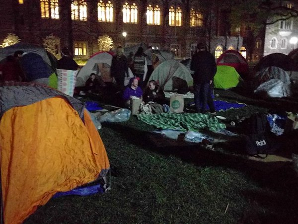 Duke students camp out in tents during a sit-in of the university's main administration building.