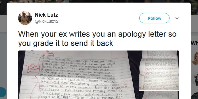 Uni student gives ex-girlfriend's apology note a D-minus