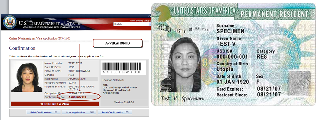 Images of permanent resident visa and U.S. citizenwhip website