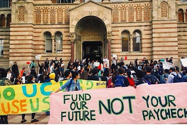 UCLA students protest proposed tuition increases.