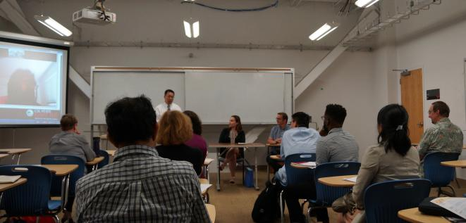 A hybrid classroom at Cal State East Bay.