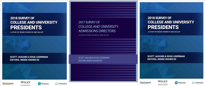 Covers of Inside Higher Ed/Gallup surveys of presidents and admissions officers