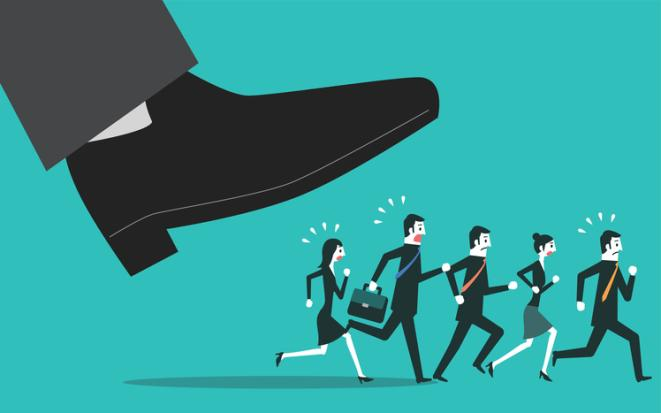 Stock illustration of a large foot seeming to step on a group of smaller people.