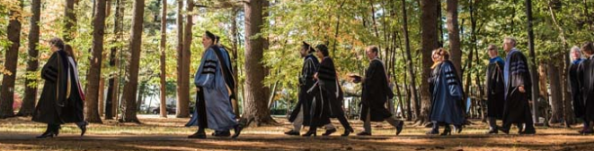 Faculty in commencement garb