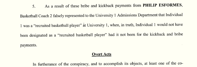 Indictment charges that a coach was bribed to get an