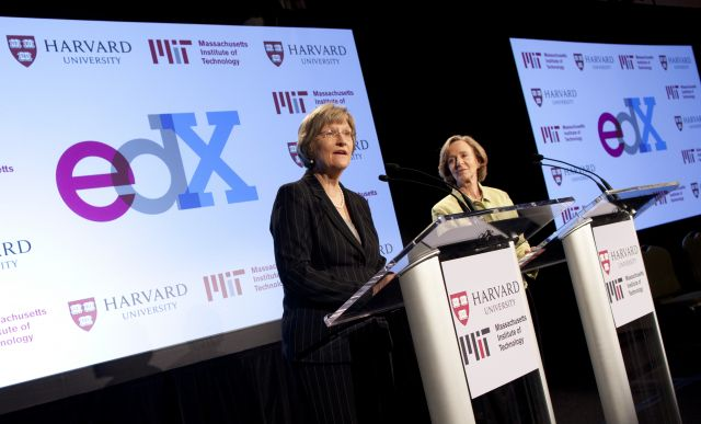 image: Harvard's Drew Gilpin Faust (left) and MIT's Susan Hockfield announcing edX system for free online courses. image source: Inside Higher Ed