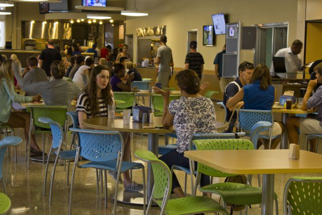Students at Elmore Dining Commons, Lynn University's 24-hour cafeteria.