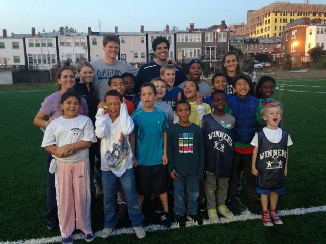 "Georgetown athletes in the Hoyas Lead program worked with the organization ""Winners Lacrosse"" to teach life instruction and activity lessons to inner-city kids through sport."