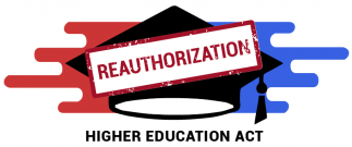 Higher Education Act reauthorization logo, featuring blue and red elements with a mortarboard in the center