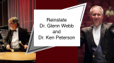 "Image from Full Disclosure DSU petition site, with a photo of the men and the words ""Reinstate Dr. Glenn Webb and Dr. Ken Peterson."""