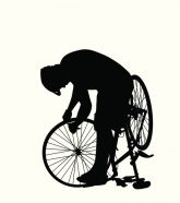 Stock illustration of a person repairing a bicycle